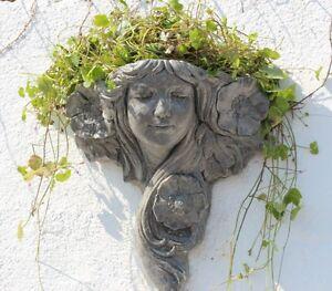 Image Is Loading Stone Wall Planter Art Nouveau Flower Lady Garden