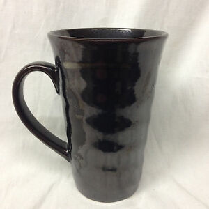 JOSEPH ABBOUD CAFE AU LAIT TALL LATTE MUG 14 OZ BROWN & CREAM GLOSSY SPONGED