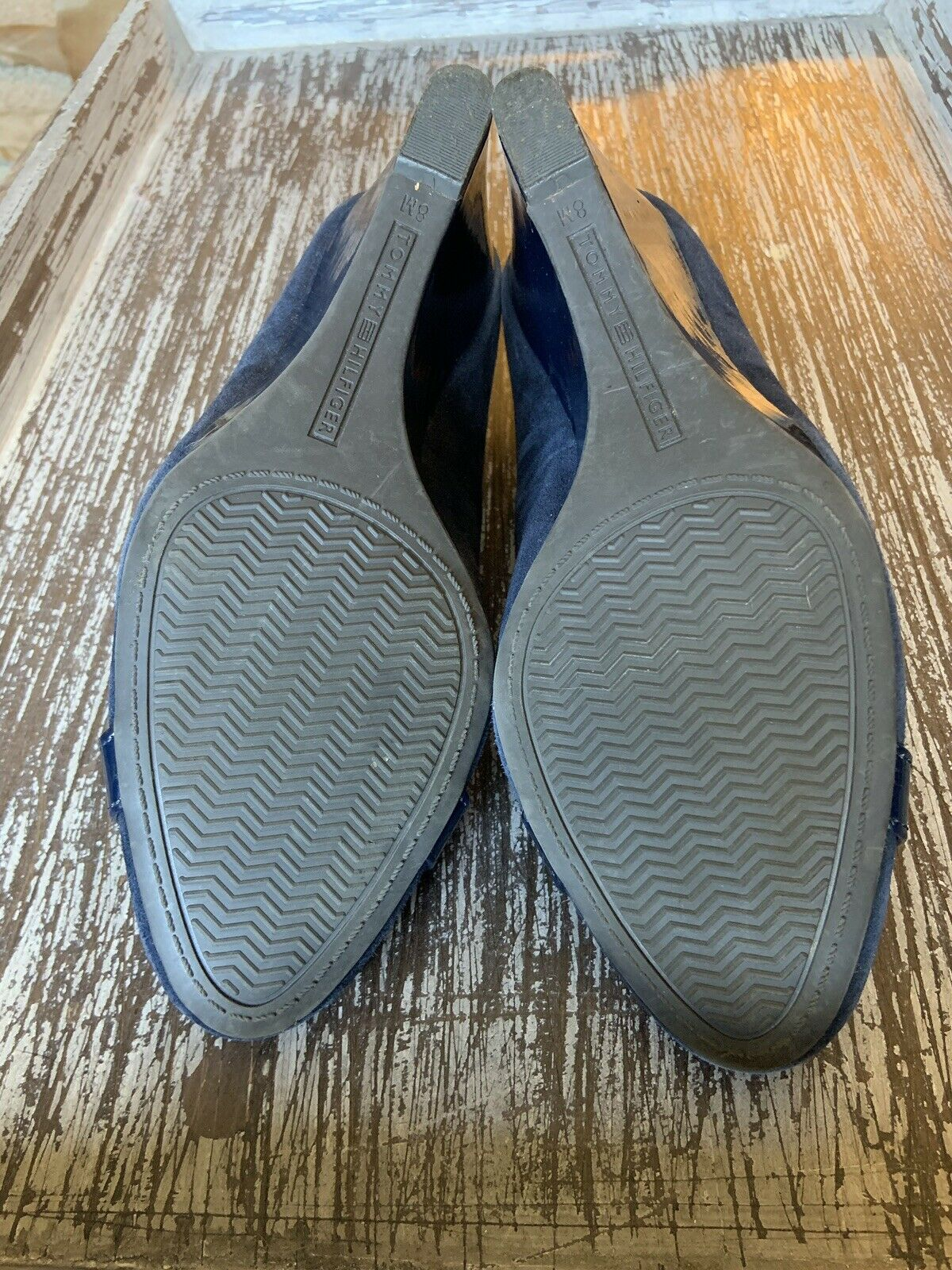 Tommy Hilfiger Twreda Faux Suede Blue Wedges with… - image 12
