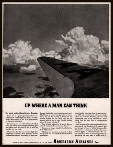 1943 A AD WWII AMERICAN AIRLINES FLAGSHIP UP WHERE A MAN CAN THINK
