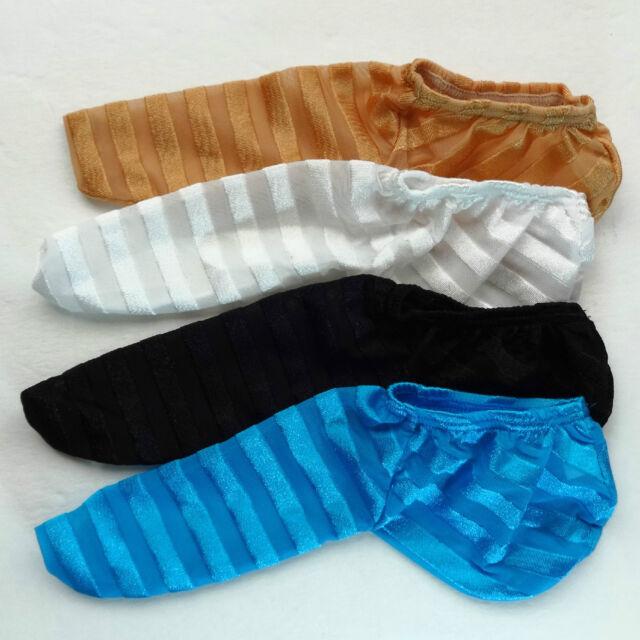 K335 W Mens Willy Pouch Penis Sock Warmer Sleeve Shiny C-thru Stripes