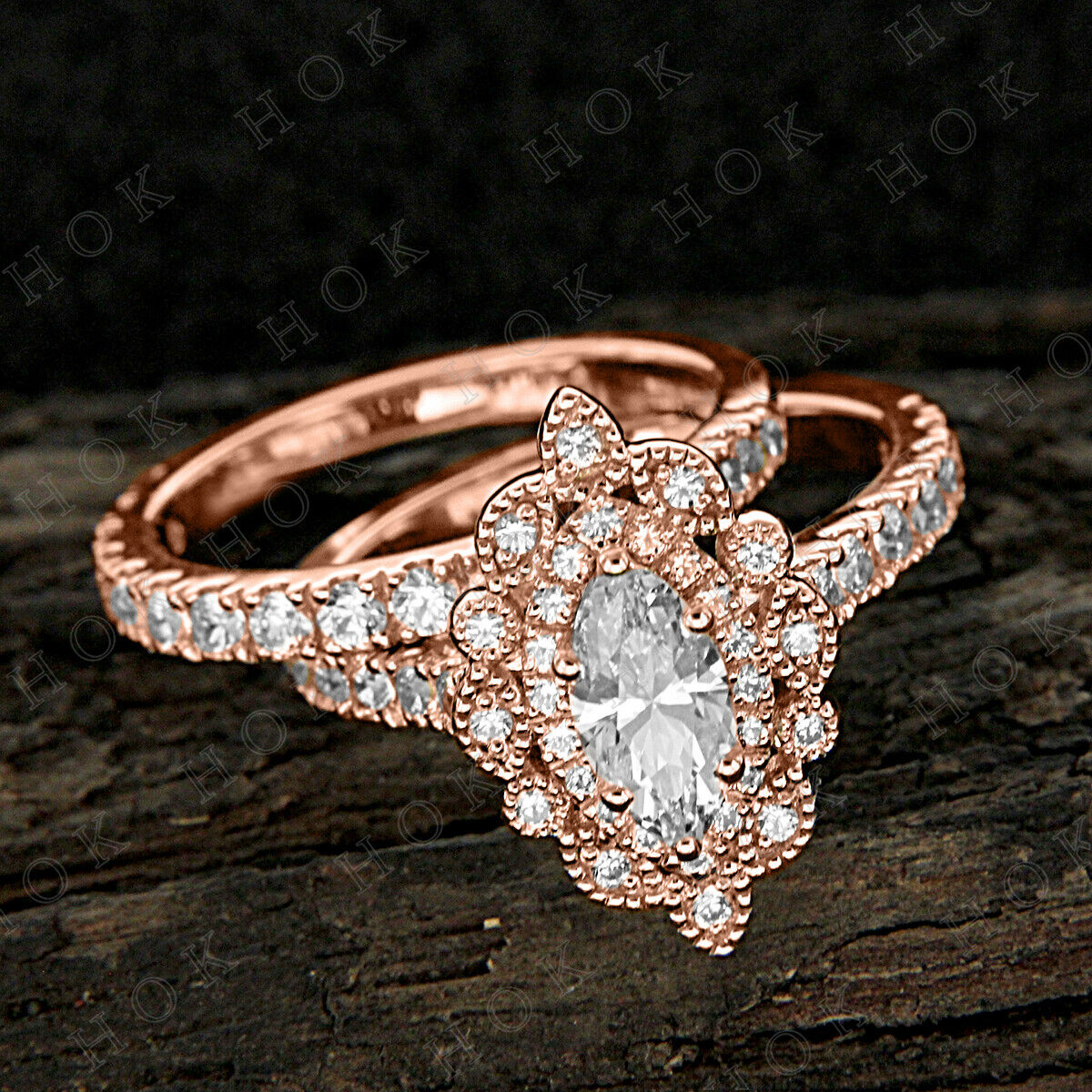 Real 10k pink gold Womens Vintage Engagement Rings Sets Marquise Diamond 1.75 Ct