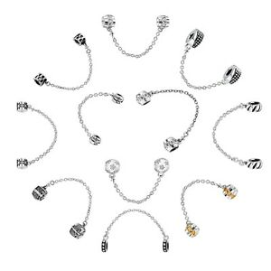 Safety-chains-Charms-Bead-Fit-925-Silver-Sterling-Bracelets-Necklace