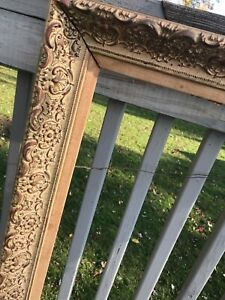 Antique-Ornate-Wood-Carved-Frame-Picture-Photo-Gesso-Painting-Gold-Gilded-35x24