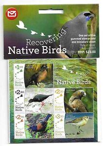NUOVA Zelanda 2017 New Zealand blocco + frase Teal bird uccelli Oiseau uccello KAKA Stilt