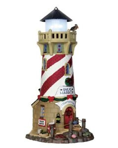"Lemax ""Village Snug Harbor Lighthouse"" NIB Carnival Theme RARE Lighted w/ Scenes"