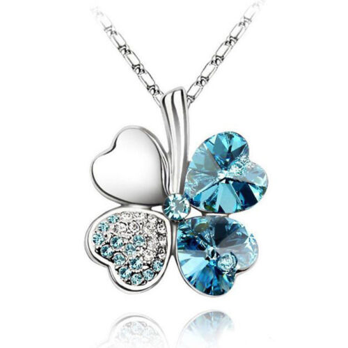 Fashion Womens Happiness Clover Four Leaf Crystal Pendant Chain Necklace Jewelry