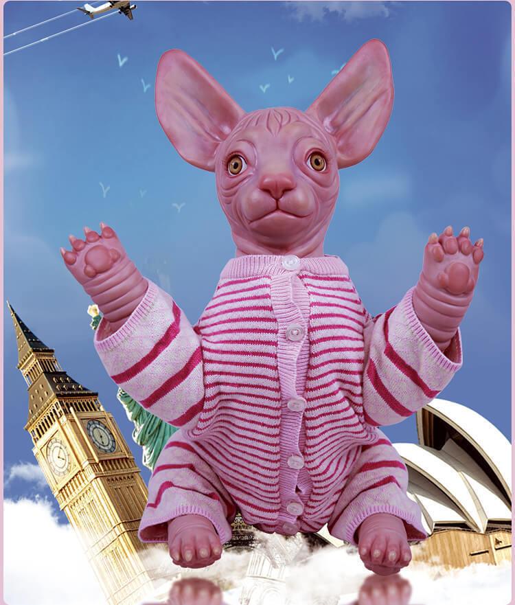 18  Muñeca Reborn SPHYNX CAT suave juguete de vinilo de silicona de animales ropa regalos únicos