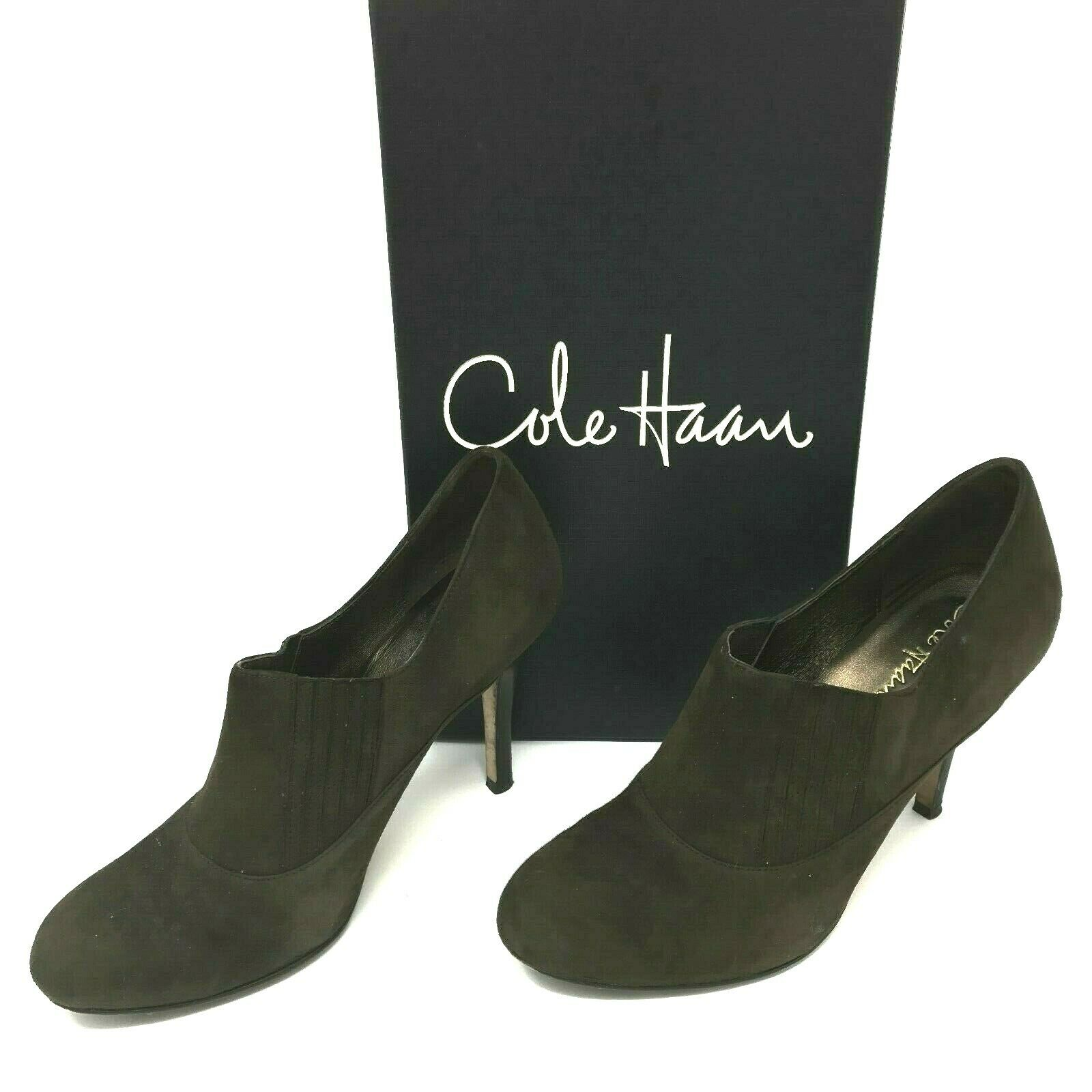 Cole Haan Women's Air Talia Ankle Booties Brown Suede SZ 8.5 Gore EUC Box Incl