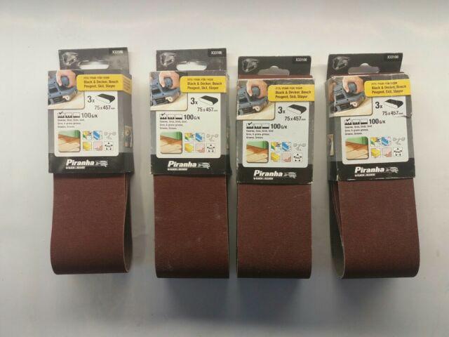 Black and Decker Piranha Sanding Belts 75mm x 457mm 100G/K Coarse, 4 Pack of 3