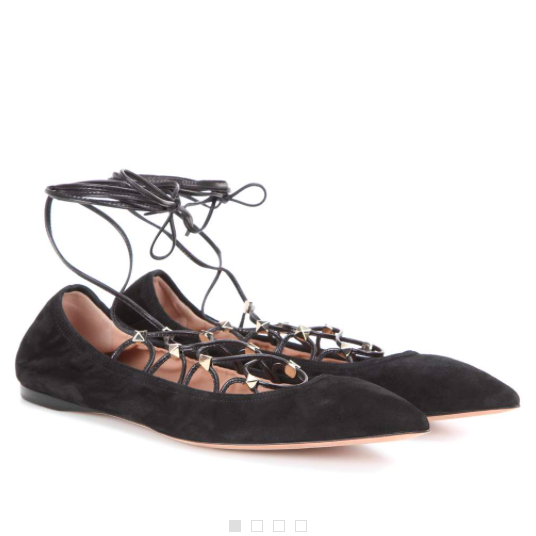 Valentino Suede Lace-Up Ballerina Flats, SZ 39, $895