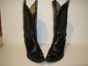 WOMENS-TONY-LAMA-BLACK-LEATHER-WESTERN-COWBOY-BOOTS-SIZE-7-5-7-1-2