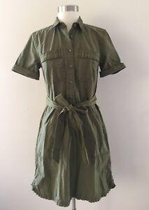 7d94dba41c J.Crew Women s Cotton Ruffle-hem utility dress Sz 2 NWT G8471 Olive ...