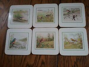 Wild Birds Box Set Of 6 Clover Leaf Coaster Table Mats Cork Backed Vintage Ebay