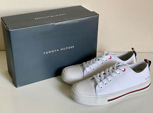 NEW-TOMMY-HILFIGER-TAYLA-WOMEN-039-S-WHITE-LACE-UP-CANVAS-SNEAKERS-SHOES-6-36-SALE