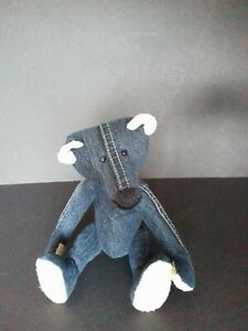 Leather Ears One Of A Kind Analytical Collectors Recycled/upcycled Denim Ooak Teddy Bear Made From Jeans Dolls & Bears