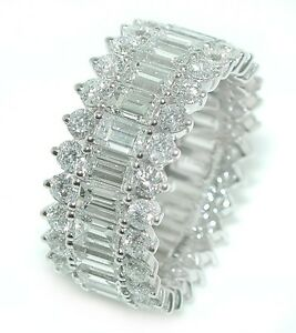 7-25-CT-BRILLIANT-Baguettes-amp-Rounds-3-Row-DIAMOND-ETERNITY-Wedding-Band-18K-WG