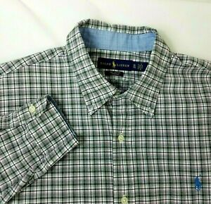 Polo-Ralph-Lauren-Shirt-Mens-XL-Button-Down-Pink-Gray-Plaid-Long-Sleeve-Cotton