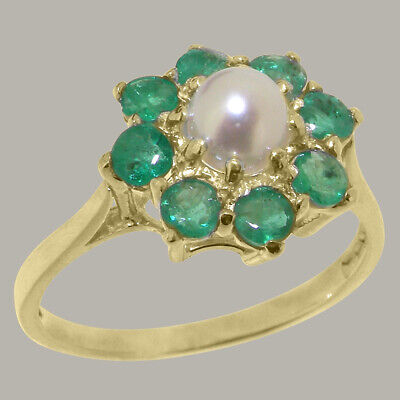 7 10k Yellow Gold Emerald Cluster Ring Size