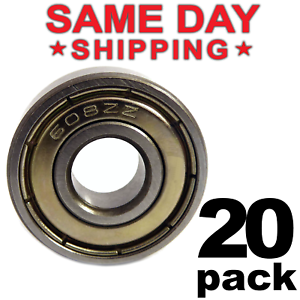 608-ZZ Ball Bearing 8x22x7 Dual Shielded Metal Chrome Skateboard 608Z (20 QTY)