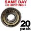 thumbnail 1 - 608-ZZ Ball Bearing 8x22x7 Dual Shielded Metal Chrome Skateboard 608Z (20 QTY)