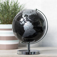 26cm Black World Globe Vintage Rotating Atlas Office Desk Ornament Home Decor
