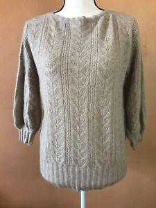 RALPH-LAUREN-BLACK-LABEL-Beige-Cashmere-3-4-Sleeve-Knit-Sweater-Size-Medium