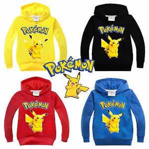 Pikachu-Pokemon-Kids-Boy-Girl-Hoodies-Sweatshirt-T-Shirt-Pullover-Sweater-Tops