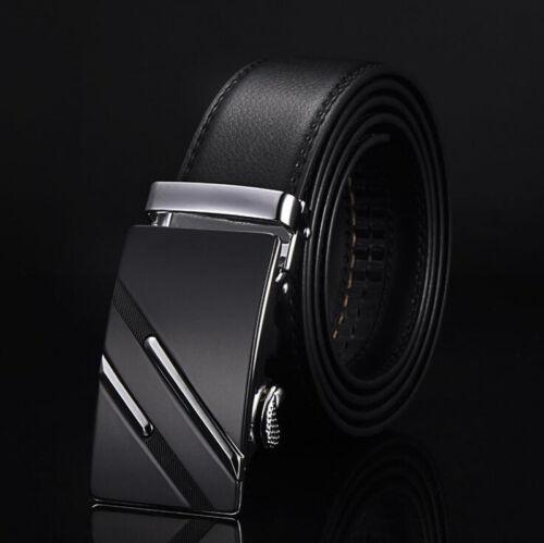 Luxury Men/'s Genuine Leather Automatic Buckle Black Waist Strap Belt Waistband
