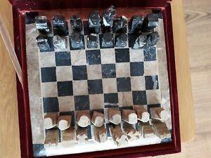 Appris Vintage Handcrafted Marbre Pierre Dure Chess Games Board Set-afficher Le Titre D'origine