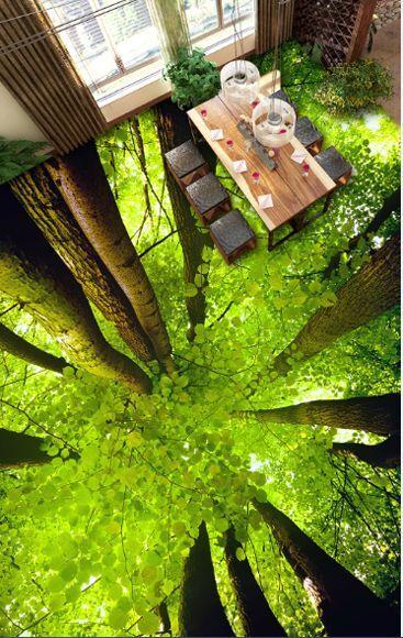 3D tree leaves green4823 Floor WallPaper Murals Wall Print Decal 5D AJ WALLPAPER
