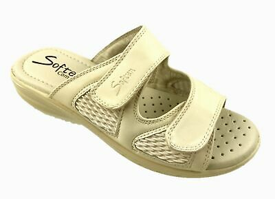 LADIES COMFORT LEATHER INSOLE ELASTICATED UPPER MULE SANDALS BEIGE UK 3-8