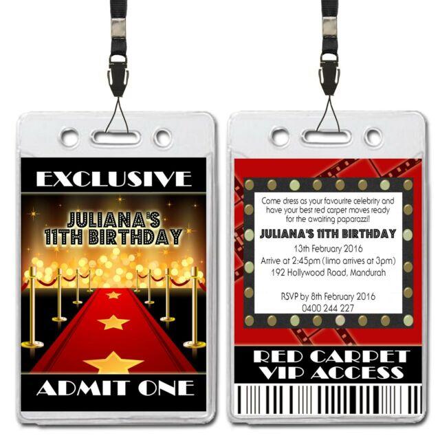 Hollywood Red Carpet VIP Lanyard Birthday Invitation
