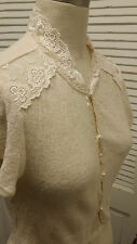 ivory FREE PEOPLE lace BOLERO dainty sweater KNIT crop TOP cardigan Sz L Ret $98