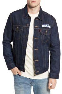 d7afa040 Details about Levi's Seattle Seahawks Blue Sports Denim Trucker Jacket SZ  XL Indigo 284960040