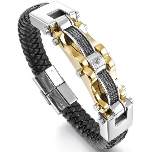 Men's Stainless Steel Leather Braided Bracelet Cable Wire CZ Bangle Gold US Ship
