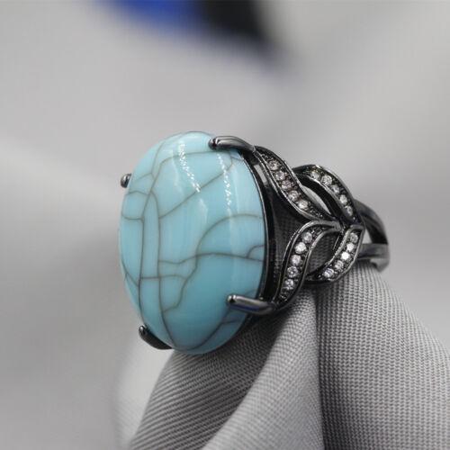 Nouveau Top Cut 18k Black Gold Filled Crystal Wedding Ring Set cadeau anneaux Sz7-9 ZB16