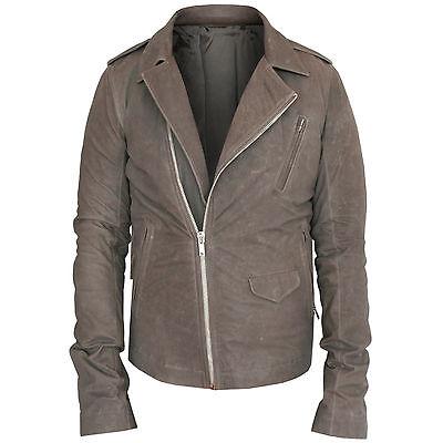 RICK OWENS $2,600 leather jacket distressed Dust gray-brown biker coat 50 NEW