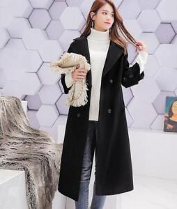Frakke Casual uld Breasted Blend Kvinder Cashmere Long Tøj Mid Double Lapel t1fzg