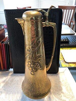 Muster Geschutzt Art Nouveau German Hammered Brass Wine Claret Jug Pitcher Ewer Ebay