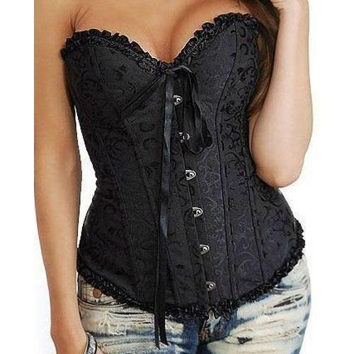 C11 - 3XL 5XL 7XL 8XL Lace Up Ribbon Ties Bustier Lingerie Corset Costume Black