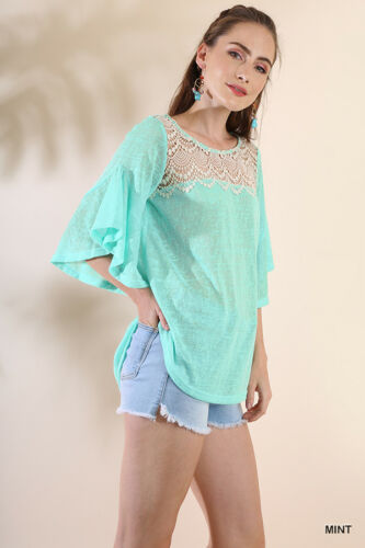 NWT S M L Umgee Butterfly Sleeve Green Crochet Lace Neckline Boho Top Blouse