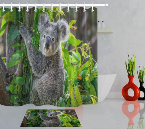 Tree Green Leaves Koala Pattern Waterproof Polyester Fabric Shower Curtain Set