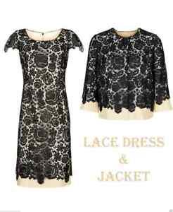 BNWT-Size-10-12-Jacques-Vert-Rose-Lace-Dress-Suit-Jacket-Black-Champagne-Beige