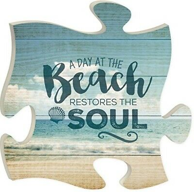 Wall Hanging Decor Puzzle Piece Beach Restores Soul Inspirational Nautical New