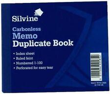 Silvine MEMO autocopiante Duplicate Book 100 pagine perforato-WH2-R3D 852-NUOVO