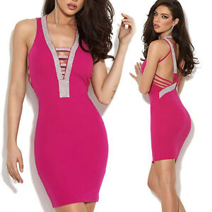 By-Alina-Damenkleid-Minikleid-Pencilkleid-Partykleid-Cocktailkleid-Strass-pink