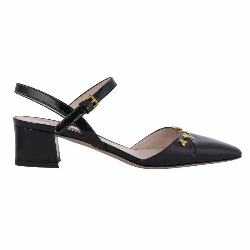 54307 auth BALLY noir leather BLOCK-HEEL Slingback Sandals chaussures 36.5