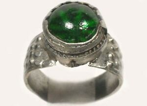 18thC Russian Ukrainian Crimean Tatars Silver Ring Sapphire Green Glass Gem Sz6¾