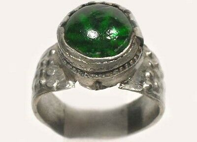 18thC Russian Ukrainian Crimean Tatars Silver Ring Sapphire Green Glass Gem Sz6¾